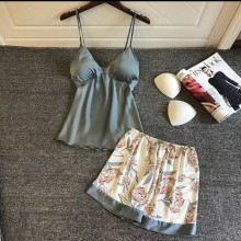 Luxurious Satin Shorts Set (Grey)