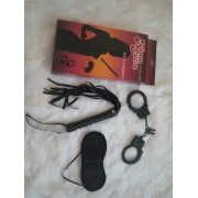 Handcuffs blindfolds and whip set