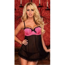 Hustler Lingerie - Maximum Cleavage Lace Babydoll & G-String