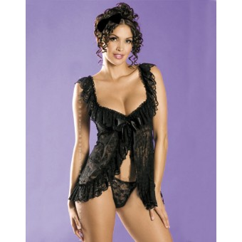 Black floral lace babydoll