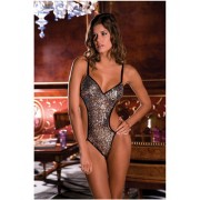 Rene Rofe Sparkle Mesh Teddy With Sequins