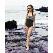 Pleated halter one piece swimsuit