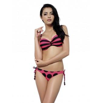 Dotted and striped pink bikini