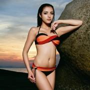 Twisted tri-colour bikini