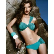 One shoulder pleated bikini